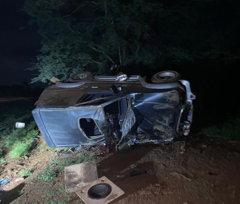 Tragic end... Mandla Maseko's car landed on its right side and perched his lifeless body on a tree.